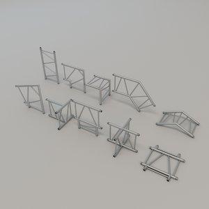 3D truss pieces model
