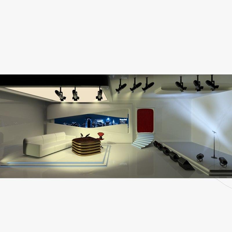 television studio lights 3D model