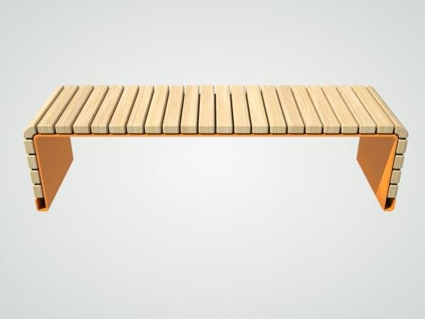 bench orange 3D model