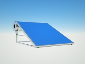 solar water panel 3D model