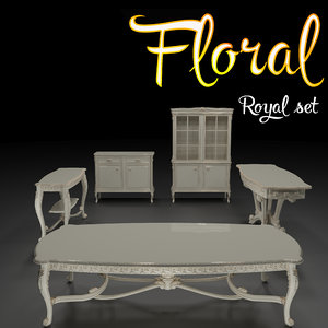 carved set floral 3D model