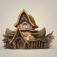 3D ready fantasy wooden hut