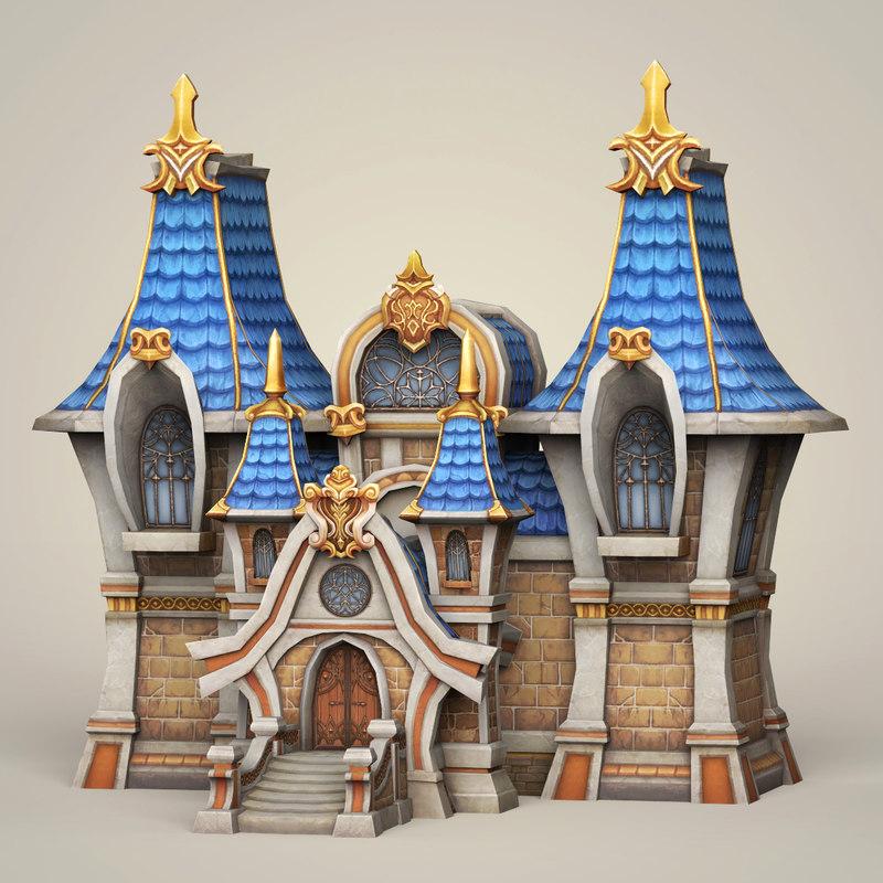 3D ready fantasy church games model