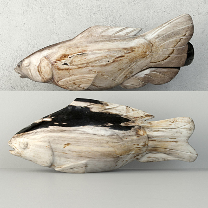 3D model hand carved petrified wood