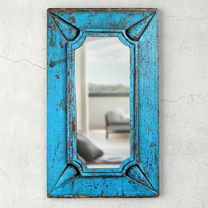 vintage blue wood mirror 3D model