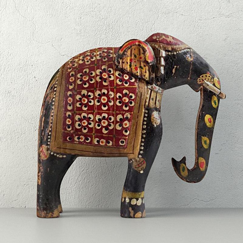 3D vintage indian solid wood