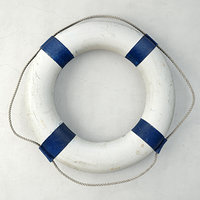 Vintage Nautical Navy Blue and White Life Preserver
