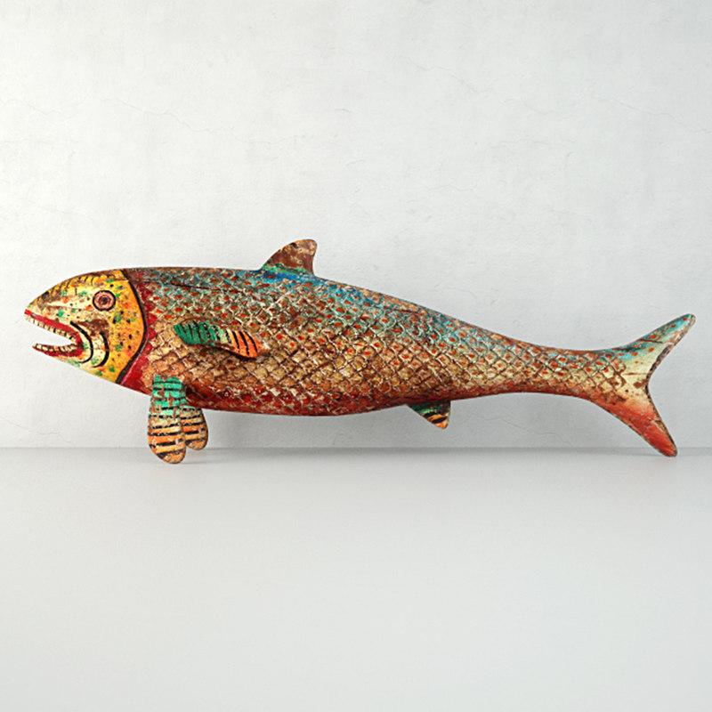 vintage painted wood fish 3D model