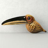 vintage paper mache tucan 3D model