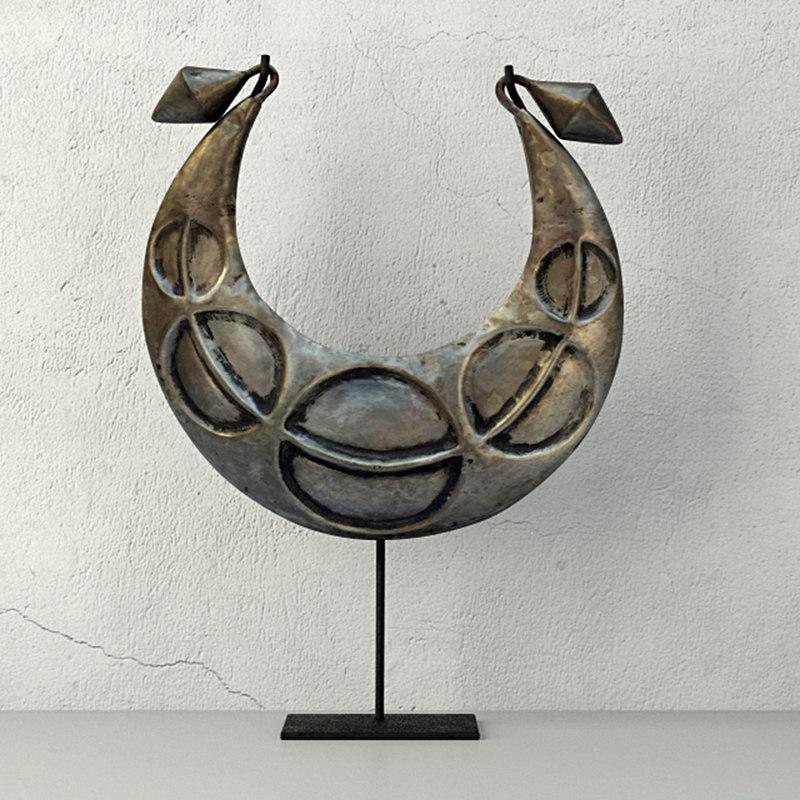 vintage tribal metal necklace model