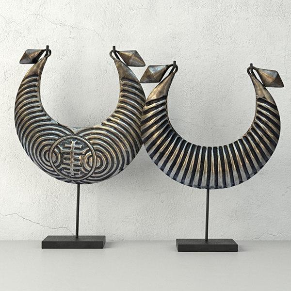 3D model vintage tribal metal necklaces