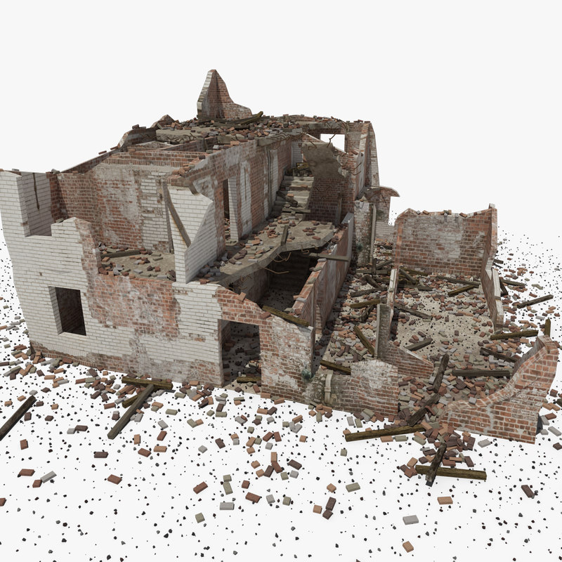 ruined house building 3D