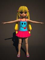 3D anime girl model