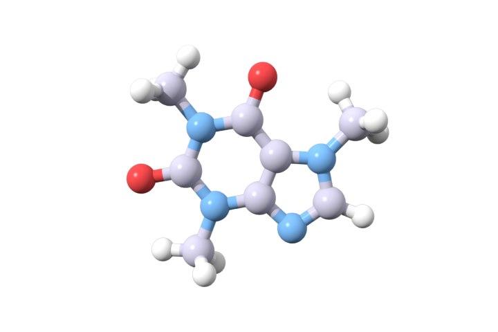 caffeine stimulant methylxanthine 3D model
