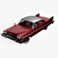 1958 plymouth fury rigged 3D model
