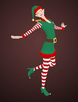3D female christmas elf model
