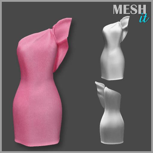 ruffle sleeve dress 3D model