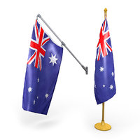 3D australian flags pack model