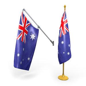 3D australian flags pack model