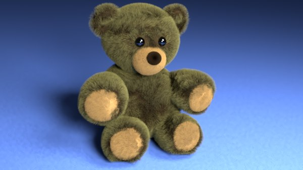 3D fuzzy stuffed bear model