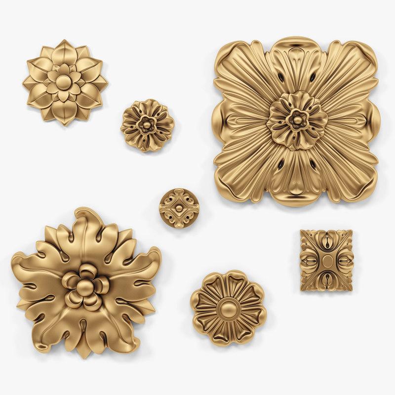 3D rosettes set