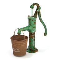 Vintage Water Hand Pump With Bucket