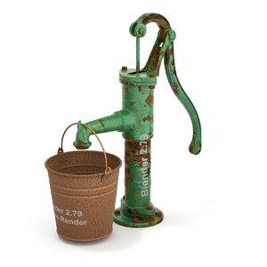 3D model bucket hand pump