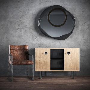 3D set chair chest mirror