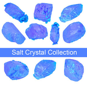 3D model blue salt crystal