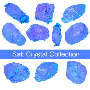 3D model blue salt crystal