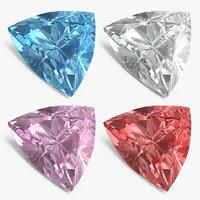 trillion cut diamonds set 3D model