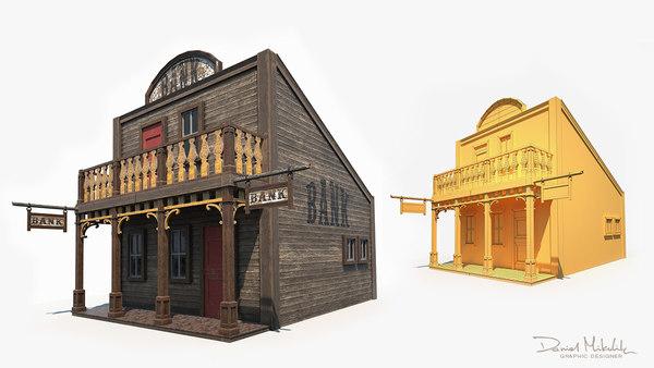 3D model old western bank