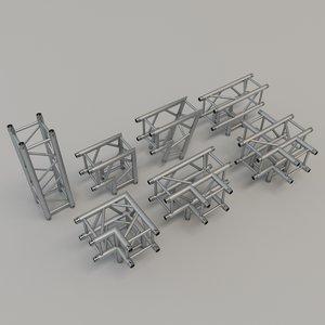 3D model square truss straight corners