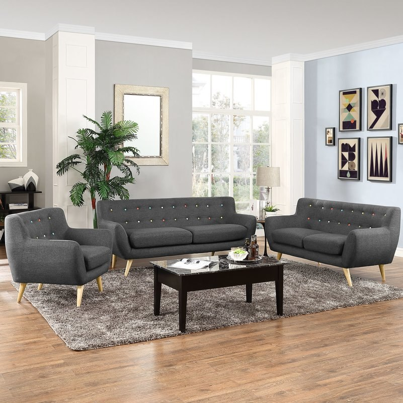 Meggie 3 Piece Scandinavian Living Room Set By Langley Street 3D Model