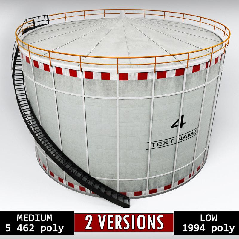 3D industrial oil tank cylinder