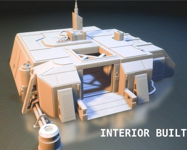 sci-fi rpg house interior 3D model