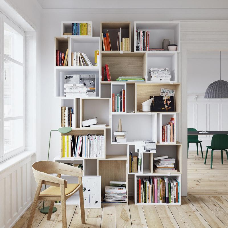 muuto stacked bookshelf set-maxtree 3D