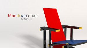 3D mondrian chair