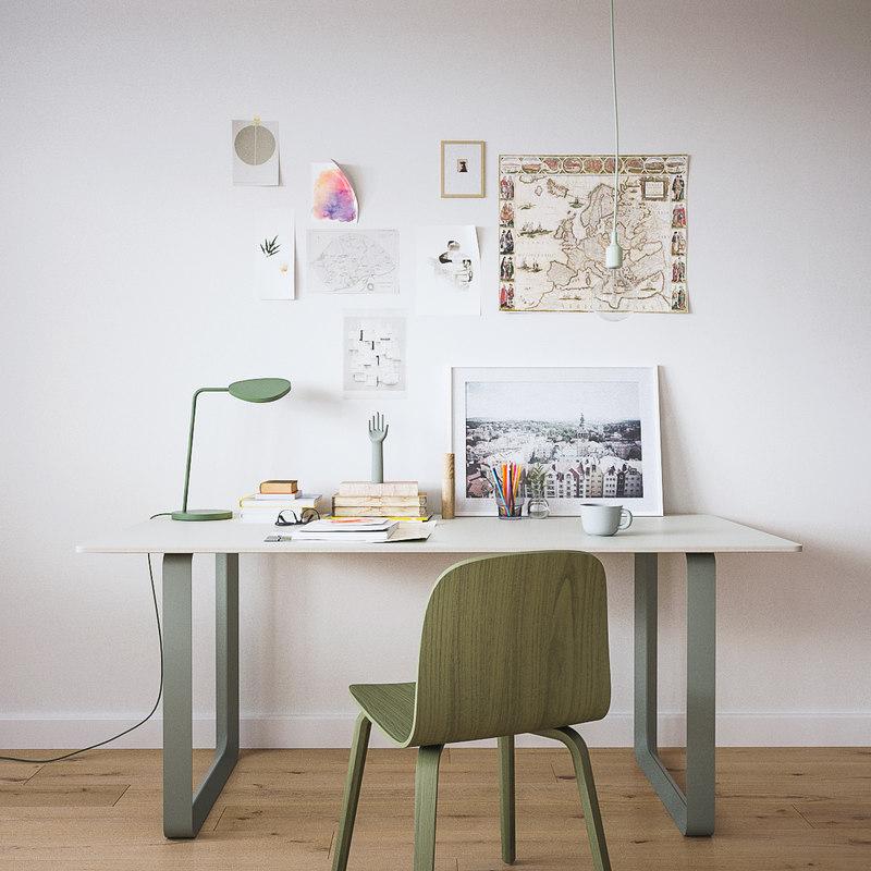 3D model muuto writing desk set-maxtree