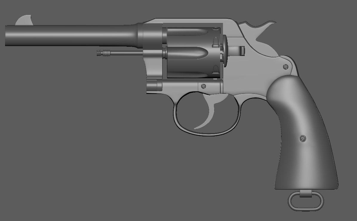 3D revolver colt 1917