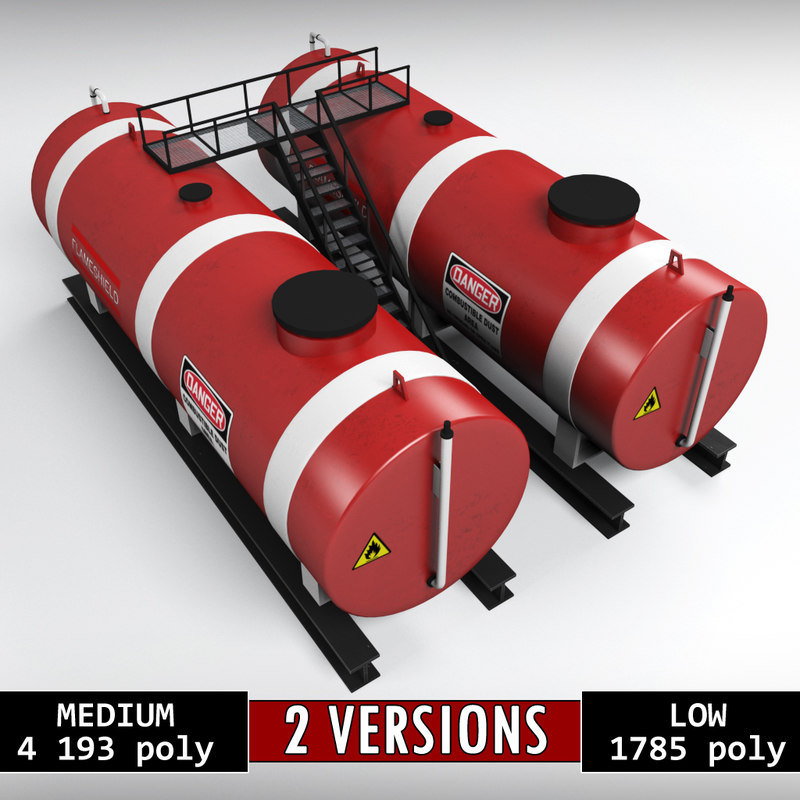 industrial oil tank double 3D model