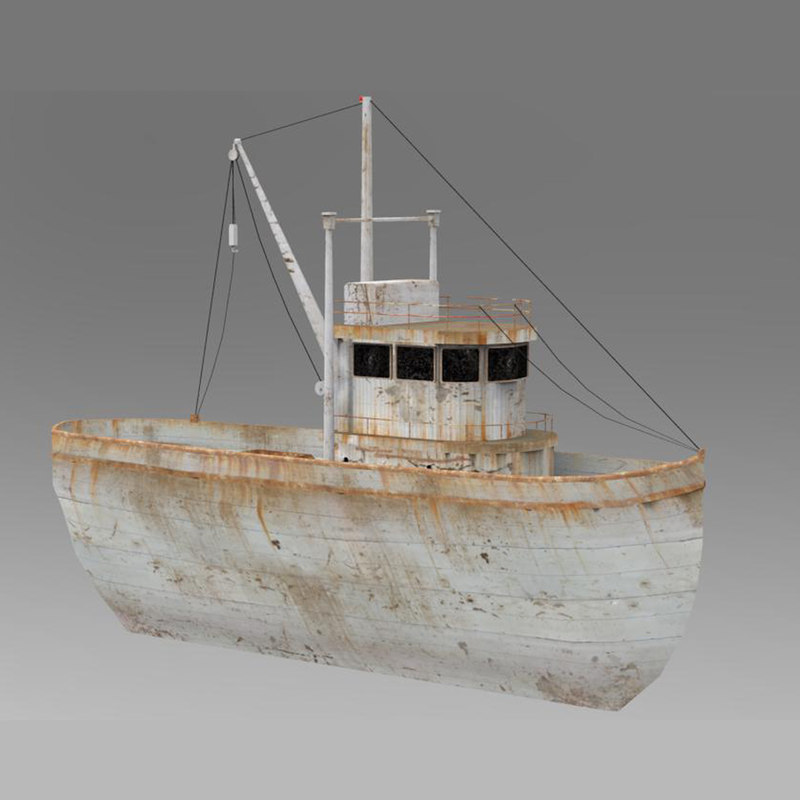 3D rusty boat games model