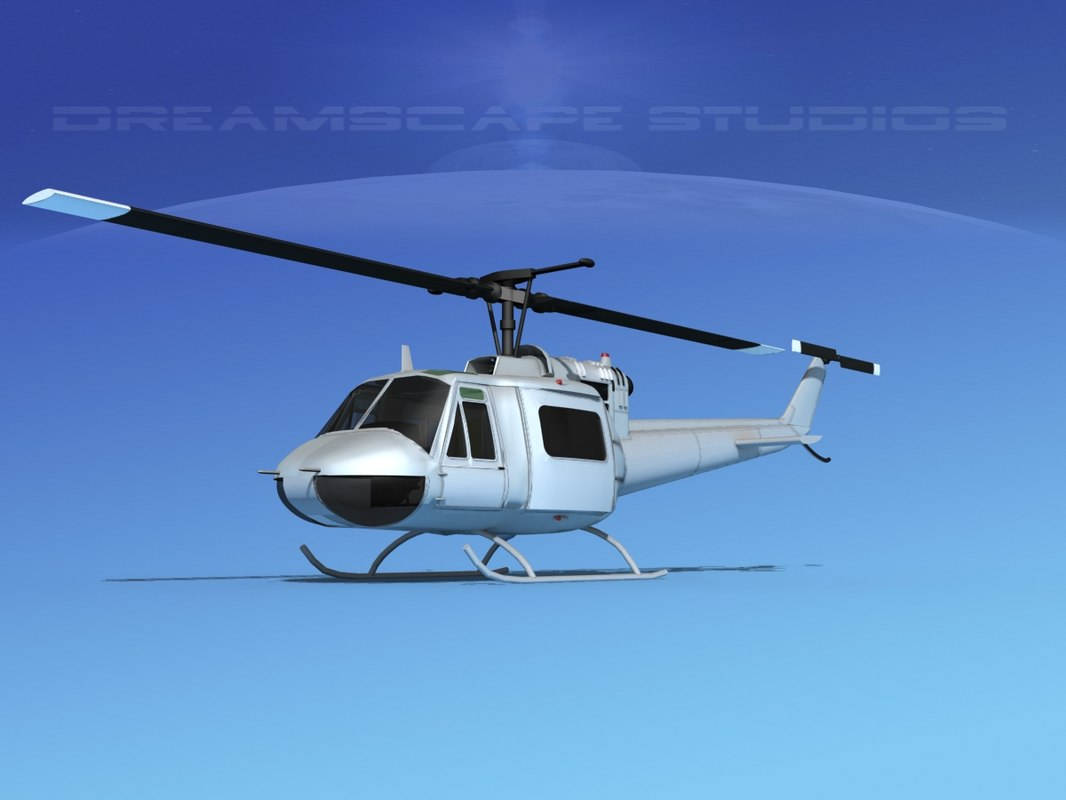 military bell uh-1b iroquois 3D model