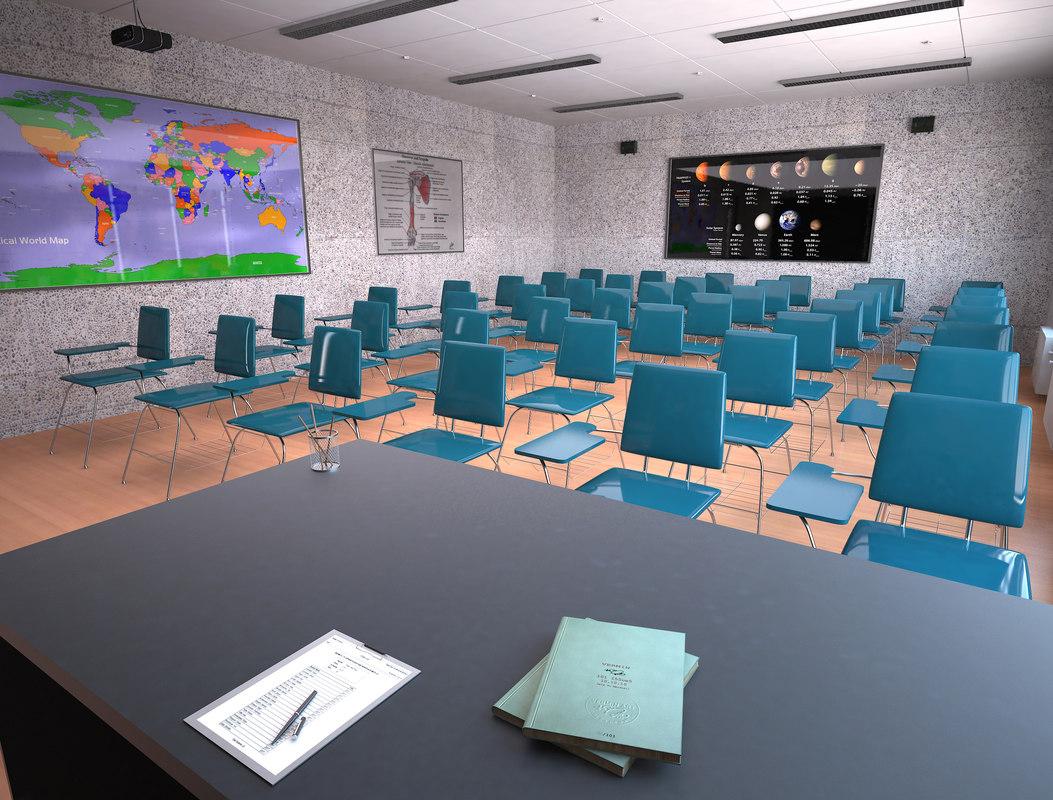 Modern Classroom Model ~ Classroom class room d turbosquid