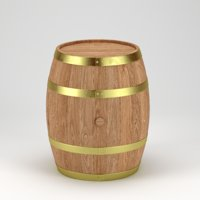 3D oak barrel model