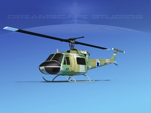 3D model military bell uh-1b iroquois