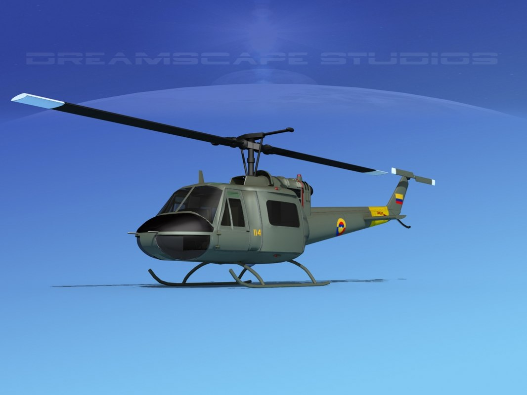 3D military bell uh-1b iroquois