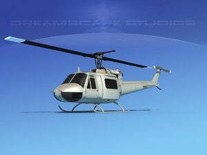 3D military bell uh-1b iroquois model