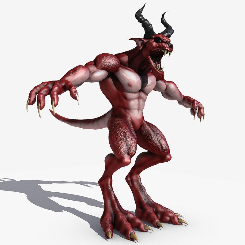 demon wolf creature 3D model