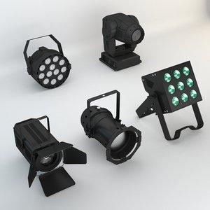 3D model 5 lights concert stages